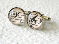 Symphony Music Notes Men's Cufflinks Cuff Link Set - Great Valentine's Day gift for him. $30.00, via Etsy.