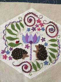 I finished my hedgehog block! I know I've said this over and over but I love these and love working on them! I believe this is the fin. Miniature Quilts, Block Of The Month, Hand Applique, Hedgehogs, Applique Designs, Some Pictures, Woodland, Patches, Miniatures