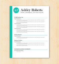 Resume Template / CV Template - The Ashley Roberts Resume Design - Instant Download  Ask a Question $24.00 USD