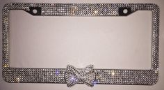 Crystal Clear Silver Rhinestone License Plate Frame with Clear Bling Bow 2 matching screw cap covers Car Accessory for women and girls by Zusooz on Etsy