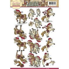 3D A4 Knipvel Yvonne Creations - Traditional Christmas - Paardjes CD10693
