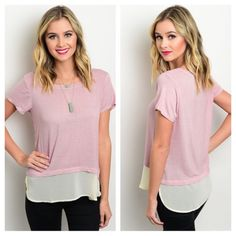 Dusted Rose Tee Perfect spin on a classic tee! Dusted Rose color with a relaxed fit, short sleeves, rounded neckline, and a sheer hem line.   96%Rayon 4%Spandex  Sizes Available: S,M,L  *Please do not purchase this listing, I will create a new listing with your size* Thank you! Xo Boutique Tops Tees - Short Sleeve