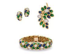 A Set of Diamond, Enamel and Gold Jewels, Kutchinsky « Dupuis Fine Jewellery Auctioneers