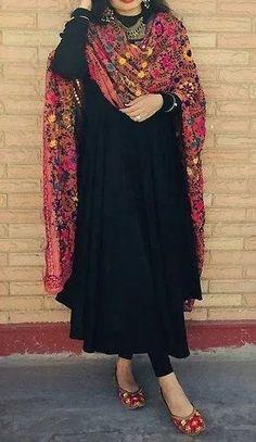 Black Dress with Phulkari Dupatta - Ada Boutique Pakistani Fashion Casual, Pakistani Dresses Casual, Indian Gowns Dresses, Pakistani Dress Design, Designer Party Wear Dresses, Kurti Designs Party Wear, Indian Designer Outfits, Indian Attire, Indian Outfits