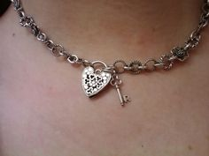 Necklace made up for a very dear friend. I handmade the chain using individual sterling links from my collection, a vintage English heart padlock clasp and initial key charm. L♡VE :)