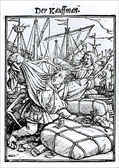 """An A1 poster sized print, approx 23""""x33"""" (841x594mm). XJF143246 Death and the Merchant, from The Dance of Death, engraved by Hans Lutzelburger, c.1538 (woodcut) (b/w photo) by Holbein the Younger, Hans (1497/8-1543) (after); Private Collection; German, out of copyright. danse macabre, dragging, goods, mortality, package, port, quay, quayside, skeleton, trade, trader, unwilling. Image supplied by Fine Art Finder. Product ID:12725133_80444_0 Illustration Art, Hans Holbein, Cleveland Museum Of Art, Art Wallpaper, Danse Macabre, Dance Of Death, Art Wallpaper Iphone, Bw Photo, Art"""