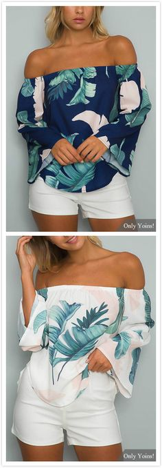 We are currently obsessing over this blouse. It adorned with floral print and off shoulder. Style it with mini skirts will be perfect.
