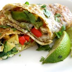 Healthy Avocado Breakfast Burritos- so smart! use egg to make your own 'wrap' instead of a carb-filled tortilla!  these are delicious! They are low carb and packed with veggies.