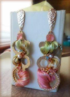 EARRINGS with shibori silk --- design by Serena Di Mercione