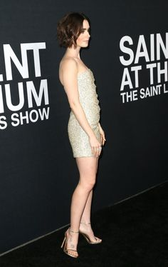 Lily Collins at the Saint Laurent show at The Hollywood Palladium, Los Angeles February, British Actresses, Hollywood Actresses, Lily Collins Hair, Pictures Of Lily, Beauty Women, Bodycon Dress, Celebs, Lady, February 2016