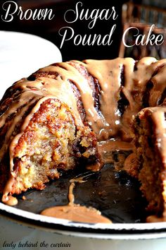 Brown Sugar Pound Cake with Caramel Drizzle