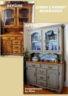 farmhouse china cabinet makeover, home decor, painted furniture, The very dark before with the lighter brighter farmhouse after Refurbished Furniture, Farmhouse Furniture, Repurposed Furniture, Furniture Makeover, Painted Furniture, Painted Hutch, Painted Tables, Painted Wood, Farmhouse China Cabinet