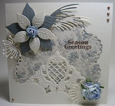 Blue & White Seasons Greetings Card...Anja Design