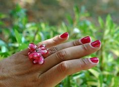 Handmade Glass Pomegranate Silver Ring Bead Lampwork Craft Supplies 61 >>> Check this awesome product by going to the link at the image.