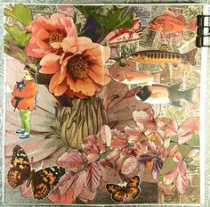 constance rose : art and life: June 2019 Collage Book, Notebook Collage, Nature Collage, Illustration Pen And Ink, Decoupage Vintage, Decoupage Art, Gcse Art Sketchbook, Book Flowers, Glue Book