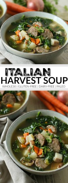 Italian Harvest Soup - The Real Food DietitiansYou can find Italian soup recipes and more on our website.Italian Harvest Soup - The Real Food Dietitians Paleo Soup, Healthy Soup Recipes, Real Food Recipes, Cooking Recipes, Whole30 Soup Recipes, Italian Soup Recipes, Cooking Corn, Healthy Food, Dairy Free Soup