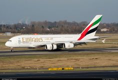 Emirates Airlines (AE) Airbus A380-861 A6-EEJ aircraft, with the sticker ''EXPO 2020 DUBAI UAE'' on the airframe, skating at Germany Dusseldorf International Airport. 10/12/2016.