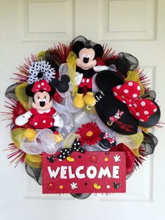Mickey Mouse Wreath Welcome Wreath Disney by SparkleForYourCastle