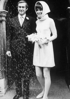 with Andrea Dotti, her second husband, at their wedding in Morges, Switzerland, January 18th 1969; pink dress by Hubert de Givenchy