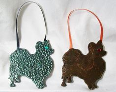 PAPILLON ORNAMENTS polymer clay art doll OOAK unique Set Lot of 2 Silhouette dog