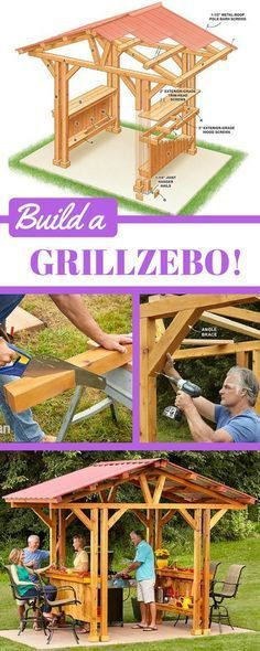 "If you're looking for outdoor bar ideas or DIY gazebo plans, this ""grillzebo"" is perfect. It's big enough to accommodate most standard grills but small enough that it might just fit on your existing patio. Customize your own grillzebo with lighting, grill accessory storage, wine glass racks or built-in coolers. http://www.familyhandyman.com/garden-structures/grill-gazebo-plans-make-a-grillzebo/view-all"