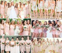 Mismatched bridesmaids dresses in blush