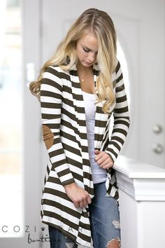 Our Best Selling Striped Elbow Patch Cardigans are lightweight and stylish! Add…