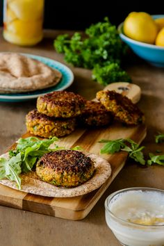Spiced millet and chickpea burgers with preserved lemon yoghurt | Delicious Everyday