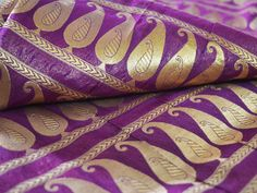 Banaras Silk Fabric - Brocade Fabric - Egg Plant  brocade with gold paisley pattern - Border Fabric By Yard