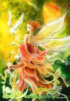 Fairy - by qianyu on deviantART Fantasy Paintings, Fantasy Artwork, Magical Creatures, Fantasy Creatures, Fairy Dust, Fairy Tales, Elfen Fantasy, Art Beauté, Kobold