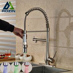 Modern Handheld LED Light Sprayer Kitchen Faucet Tap Single Handle Deck Mount RGB Light Kitchen Mixer Taps