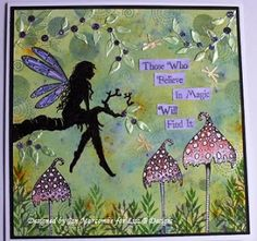 Handmade card by Jan M. Lavinia Stamps, Brusho crystals, Sweet Poppy dimension paste.