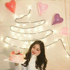 Birthday Ideas For Her, Birthday Girl Pictures, Birthday Photos, Ulzzang Korean Girl, Cute Korean Girl, Asian Girl, Ulzzang Style, Birthday Icon, Korean Birthday