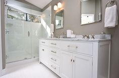 I want to tear out our tub and replace it with a huge walk in shower like this!