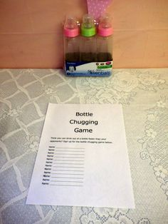 Ruth's Baby Shower-Ruth's Baby Shower bottle chugging game - Baby Q Shower, Bebe Shower, Baby Shower Games Unique, Baby Shower Gender Reveal, Baby Shower Themes, Baby Shower Gifts, Shower Ideas, Baby Gender, Baby Shower Diapers