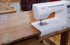 Sewing Machine Great idea for sewing table - My husband made me this beautiful sewing table for Christmas. It wasn't a surprise because I knew he was working on it and we had discussed the design. However, the fact that it was done by C… Sewing Room Design, Sewing Room Storage, Sewing Spaces, Sewing Room Organization, My Sewing Room, Sewing Studio, Craft Room Storage, Craft Rooms, Storage Ideas