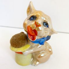 Excited to share this item from my #etsy shop: Vintage Lusterware Figural Dog Pin Cushion - Made In Japan Antique Sewing Puppy #antiquesewing