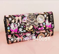 Graffiti Hello Kitty PU Leather Women Purse Long Wallet Size: about 18.5cm*3cm*10cm) Free Shipping-in Wallets from Luggage & Bags on Aliexpr...