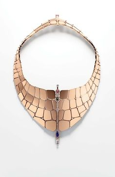 @Her Mioneès Niloticus necklace in rose gold, diamonds and coloured stones.