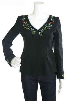 MOSCHINO COUTURE! Black Multi-Color Long Sleeve Floral Embroidered Jacket Sz 42 #MoschinoCouture #BasicJacket