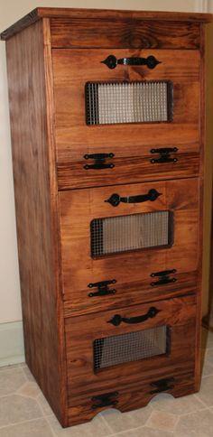 Rustic Bread Box wooden Vegetable Potato Bin Storage Primitive ...
