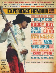 Eighth Annual Experience Hendrix Tour Features Buddy Guy, Zakk Wylde, Jonny Lang, Kenny Wayne Shepherd, More - I went to this in late 2014 - AWESOME! Rock & Pop, Rock And Roll, Affiche Jimi Hendrix, Kenny Wayne Shepherd, Band Of Gypsys, Bootsy Collins, Vintage Music Posters, Buddy Guy, Eric Johnson