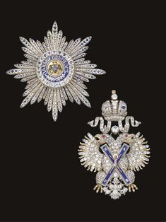 Order of Saint Andrew – Badge and Star (St. Petersburg, circa 1850. Enamels, gold, silver-gilt, pastes)