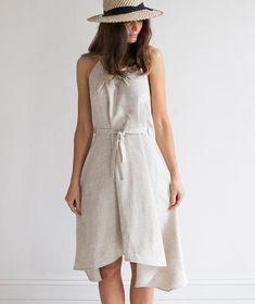 Oatmeal V-Neck Linen Wrap Dress | The Linen Works (London)