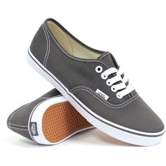 Vans Authentic Lo Pro (Pewter/True White) Women's Shoes ($45) ❤ liked on Polyvore featuring shoes, sneakers, vans, flats, grey, white skate shoes, vans flats, vans sneakers, flat pumps e white sneakers