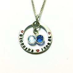 This beautiful necklace is personalised with names of your choice. This is perfect to put names of your children or the names of loved ones. Perfect Valentines present.  The washer is made from Aluminium and comes with a stainless steel chain. It's completed by the beautiful swarovski channel charms, of which you can choose the colours to make your necklace that extra bit special.
