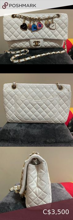Chanel Valentine Medium Flap White Good preloved condition. Clean interior . Structure has softened Recently restored at the bag spa (redyed) Comes with dust bag CHANEL Bags Shoulder Bags Channel Boy Bag, Chanel Jumbo Caviar, Chanel Mini Rectangular, Bag Spa, Balenciaga Mini City, Valentino Couture, Chanel Classic Flap, Deer Skin, Chanel Bags