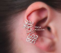 Left/ Right Ear Cartilage Cuff Corset Weaving- fake piercing - no piercing ear wires - silver plated
