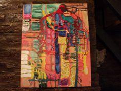 pintura abstracta en acrilico y barniz