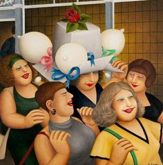 "Beryl Cook (British, 1926–2008)  ""Hen Party II"""